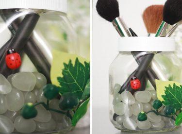 Makyaj Fırçaları İçin Kozmetik Organizer Yapımı (Uğur böceği ve yapraklar ile)