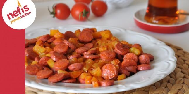 Patatesli Sosis Tarifi | Kahvaltılık Sosis ve Patates