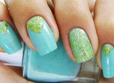 Simli Mint Yeşili Oje Deseni – Nail Arts