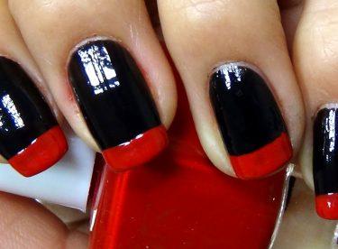 Siyah ve Kırmızı Fransız Manikürü – Nail Arts