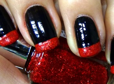 Siyah ve Simli Kırmızı Fransız Manikürü – Nail Arts