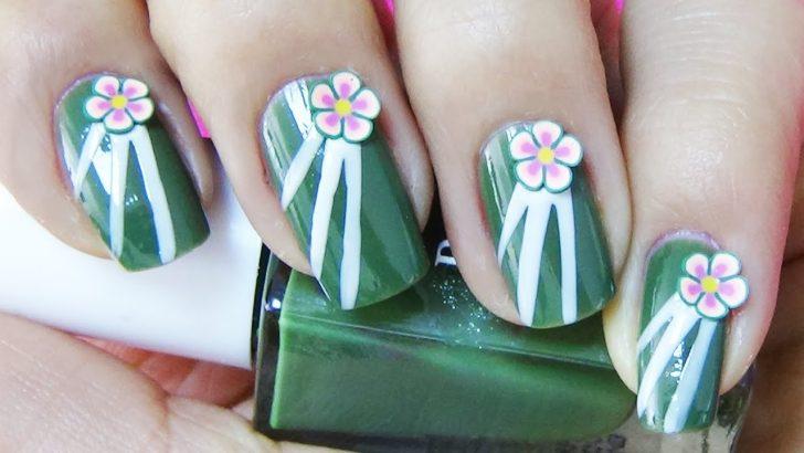 Yeşil Çiçekli Oje Deseni – Nail Arts