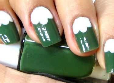 Yeşil ve Beyaz Oje Deseni – Nail Arts