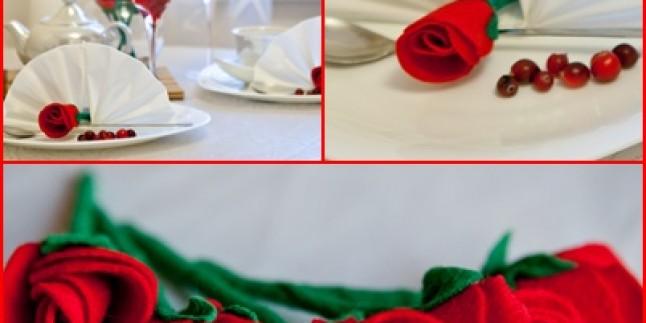 Keçe ile Gül Yapımı ve Masa Üzerini Süsleme (Resimli Anlatım)