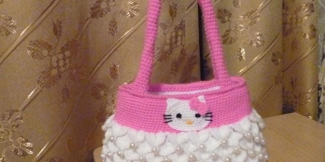 Tığ işi Hello kitty çanta yapılışı- Resimli anlatım