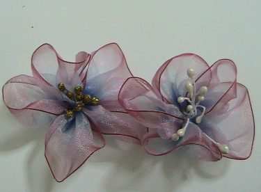Organze Kurdeleden Çiçek Yapımı