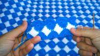 Tığ ve Tunus İşi Birleşimi Mavi Beyaz Battaniye Yapılışı 4