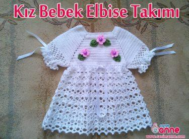 Örgü Bebek Elbisesinin Etek Kısmına Geçiş