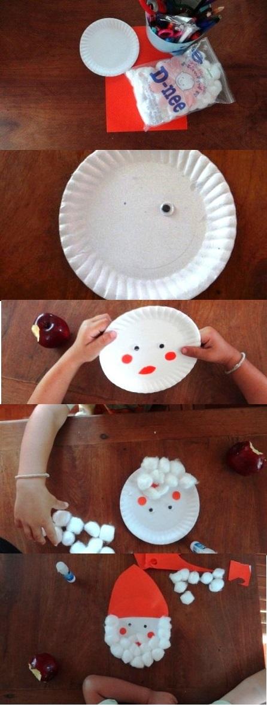 plastik veya kagit tabaktan noel baba nasil yapilir