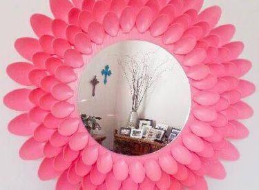 Plastik Kaşıklardan Dekoratif Ayna Yapımı